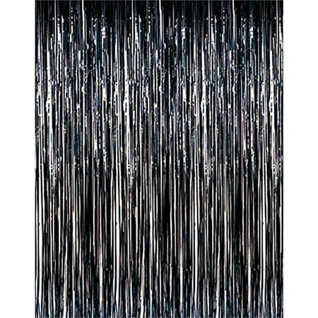 Metallic Black Foil Fringe Party Curtain 3 ft x 8 ft (1 Curtain) by Super Z Outlet](Party World Outlet)