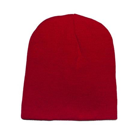 07c0b6a77 Opromo Short Ski Winter Beanie Basic Plain Warm Knit Cap Ski Snowboarding  Hat-Red-1piece