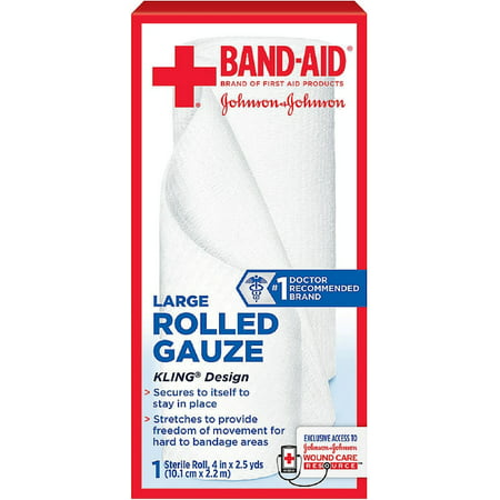 BAND-AID First Aid Rolled Gauze Sterile Roll, Large 1 ea (Pack of
