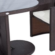 Outsunny Piece Table And Chair Rattan Wicker Patio Furniture Set