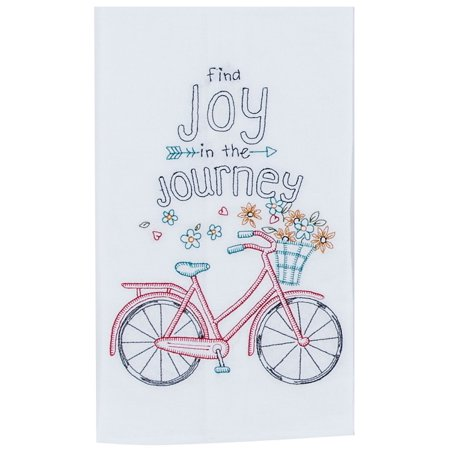 Find Joy in the Journey Bicycle Embroidered Flour Sack Kitchen Dish Towel