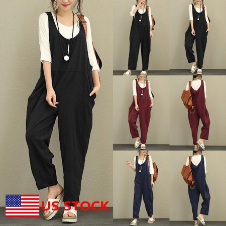 (Women's Cotton Overalls Jumpsuit Strap Rompers Dungaree Oversized Trousers US)