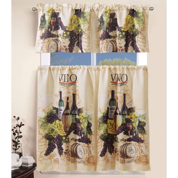 Sapphire Home 3 Piece Kitchen Curtain Linen Set With 2 Tiers 27 W Total Width 54