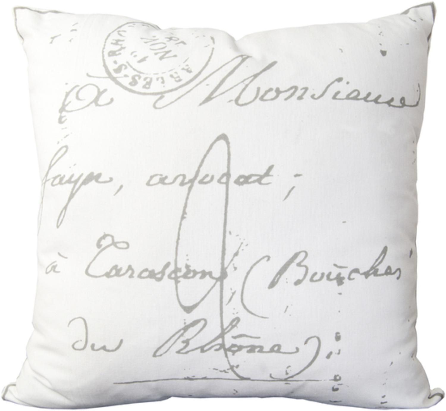 """18"""" Calligraphy White and Ash Gray Decorative Throw Pillow Down Filler"""
