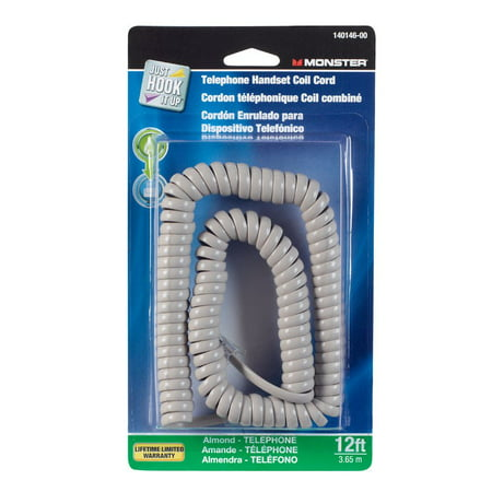 Monster Cable Telephone Handset Coil Cord 4 Conductor 12 ' Almond (Cord Almond)