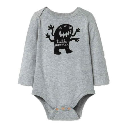 Infant Boys Gray Tickle Monster Halloween Bodysuit Creeper Shirt 0-3m