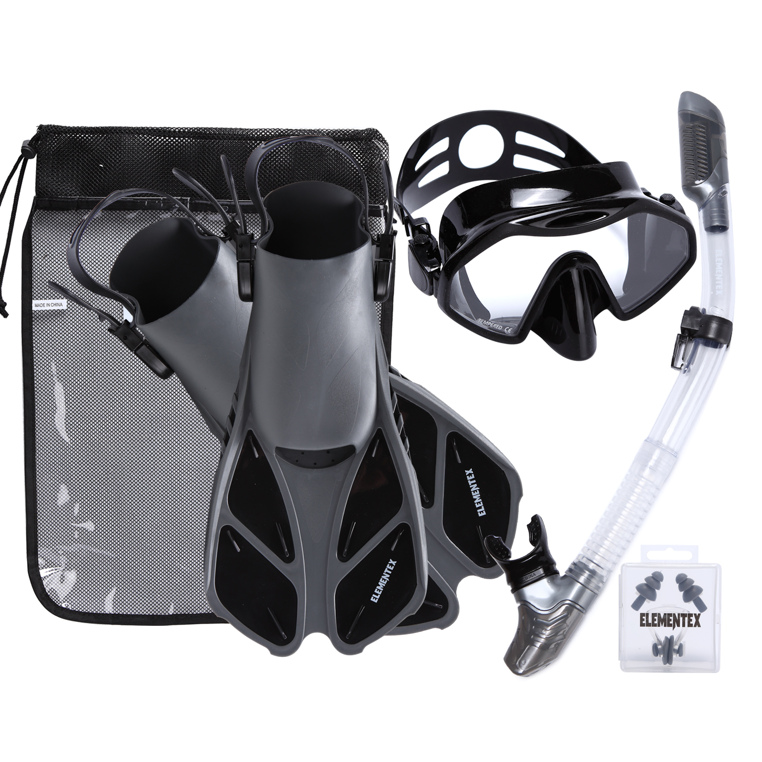 ELEMENTEX Scuba Diving Mask and Dry Snorkel Set with Trek Fins - Large / Black