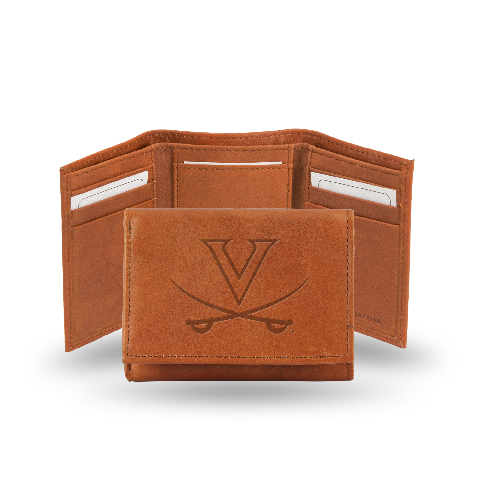 Virginia Cavaliers NCAA Team Logo Embossed Brown Leather Trifold Wallet