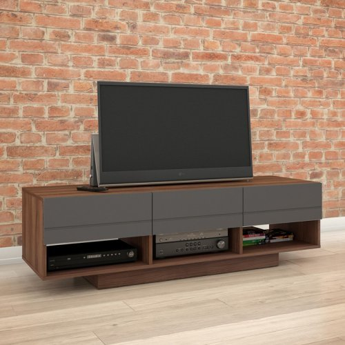 Nexera Radar 60 in. TV Stand - Walnut & Charcoal