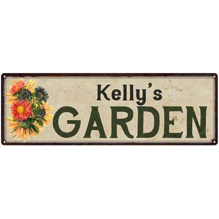 Kelly's Garden Personalized Flower Chic Decor 6x18 Sign Gift 206180017070 ()