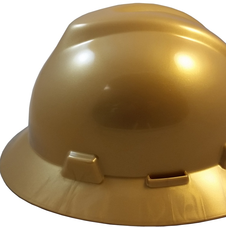 MSA V-Gard Full Brim Hard Hats with Staz-On Suspensions Silver
