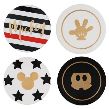 Ceramic 6 Coaster (Mickey Mouse Themed Coaster Set – 4 Piece Ceramic, Heavy Coasters - Ideal For Mickey Mouse Disney Fans – 4 Unique Designs – A Beautiful Gift That Protects Tables From Drink Marks)