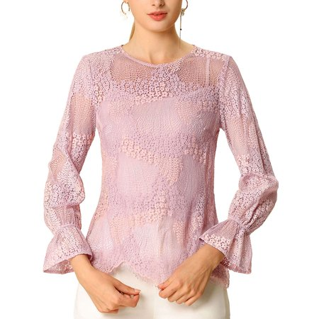 Allegra K Women's See Through Round Neck Ruffle Long Sleeves Lace Top Pink (Size XL / 18)
