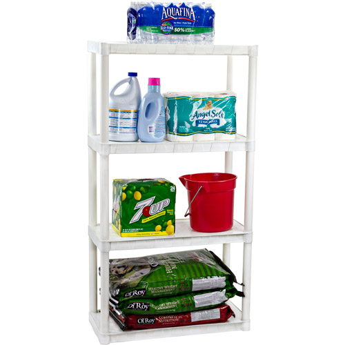 Plano 4-Shelf Solid Shelving Unit, White 924400