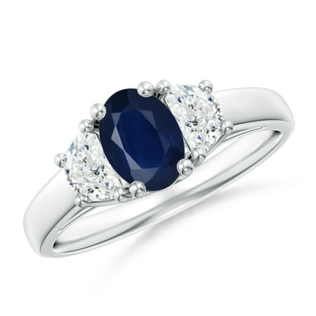 September Birthstone Ring - 3 Stone Oval Blue Sapphire and Half Moon Diamond Ring in Silver (7x5mm Blue Sapphire) - SR0212S-SL-A-7x5-6.5