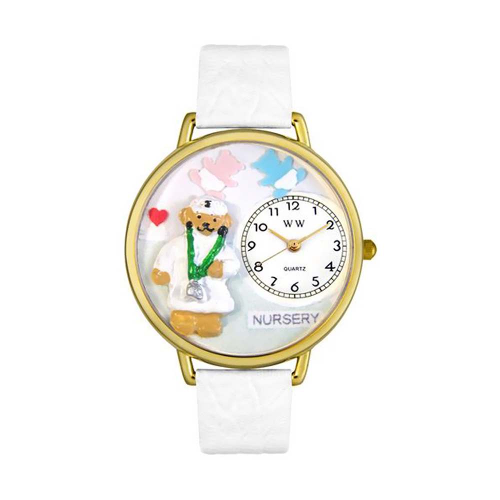 Whimsical Nurse Teddy Bear White Leather And Goldtone Watch