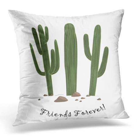 CMFUN Green Arizona of Three Cute Cartoon Saguaro Cactus Friends Forever Text Could Be Used Prints Desert Pillow Case Pillow Cover 18x18