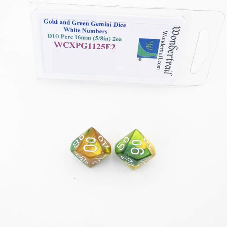 Gold and Green Gemini Dice with White Numbers 10s D10 Aprox 16mm (5/8in) Pack of 2 Wondertrail