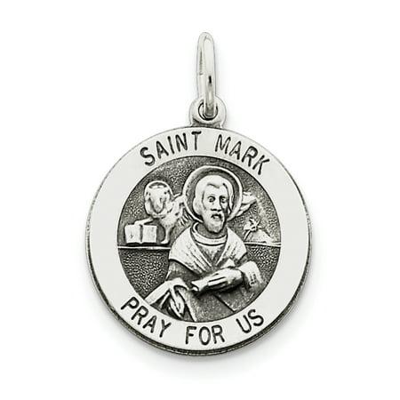 Sterling Silver Antiqued Saint Mark Medal QC5738 (25mm x 20mm) - image 2 of 3