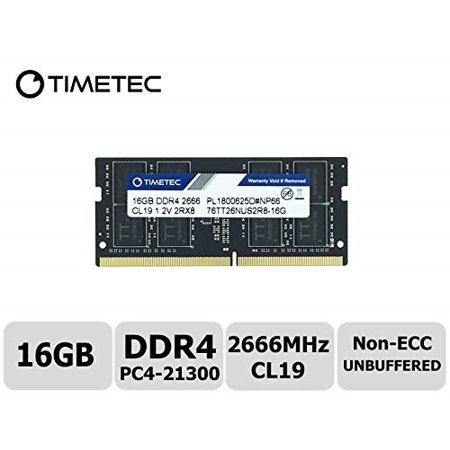 timetec hynix ic 16gb ddr4 2666mhz pc4-21300 unbuffered non-ecc 1.2v cl19 2rx8 dual rank 260 pin sodimm laptop notebook computer memory ram module upgrade (16gb)