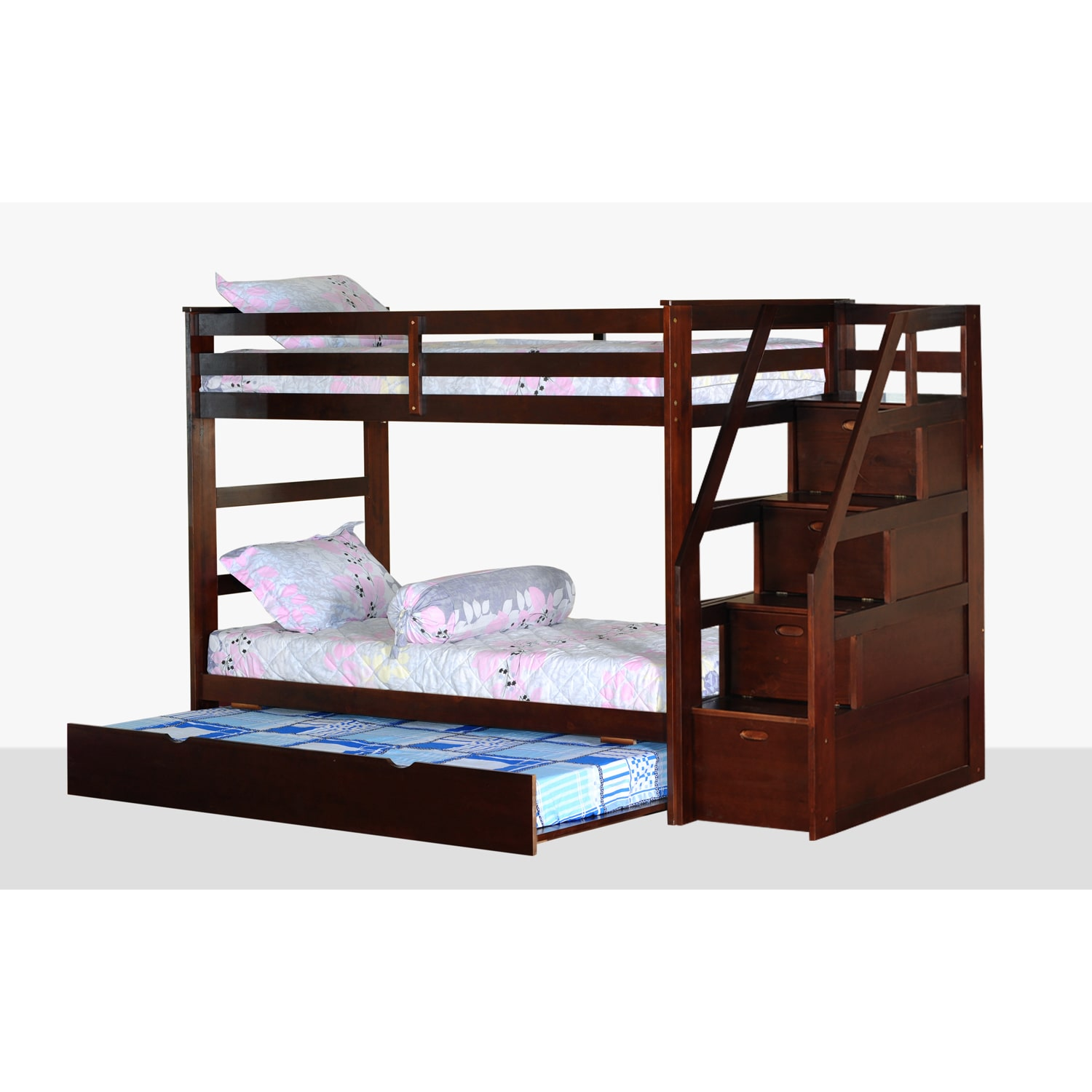Us Tamex Twin Over Twin Bunk Bed With Trundle And Storage Steps