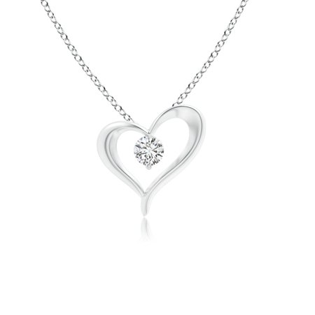 Valentine Jewelry gift - Solitaire Diamond Ribbon Heart Pendant in 14K White Gold (3mm Diamond) - SP1119D-WG-HSI2-3 Gold Diamond Ribbon Pendant