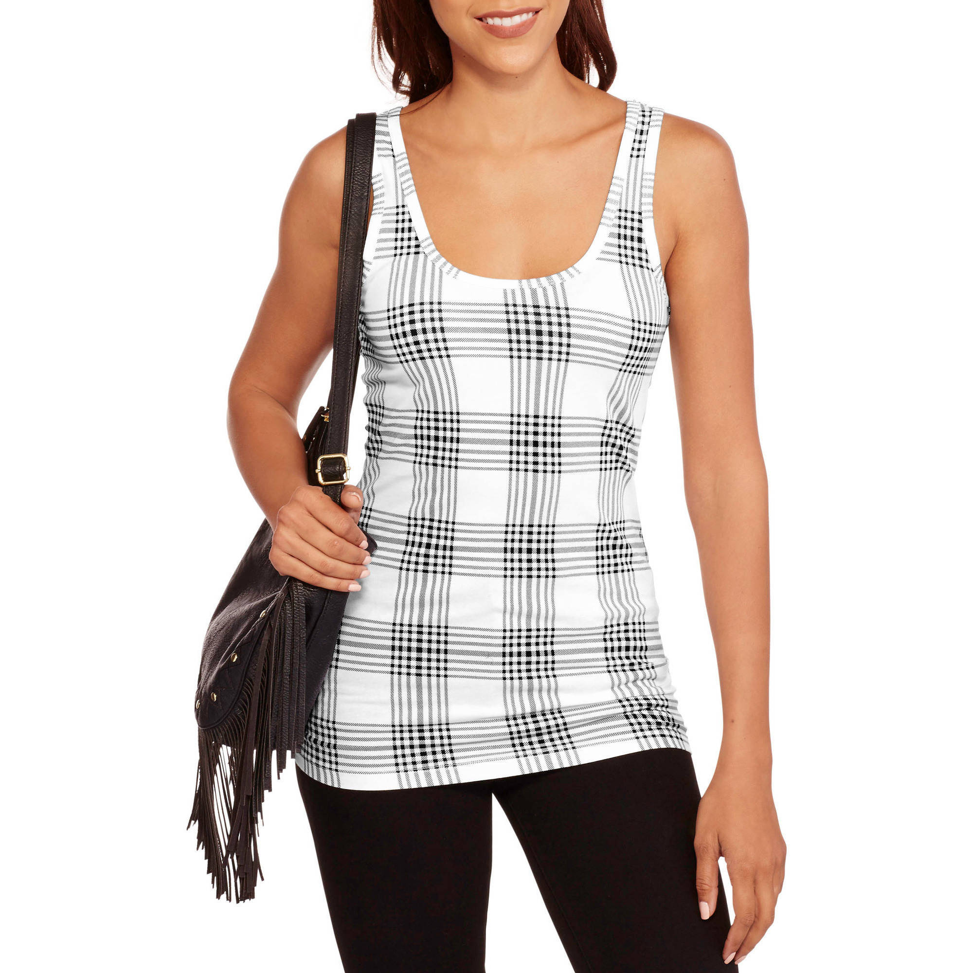 No Boundaries Juniors' Printed Scoop Neck Tank