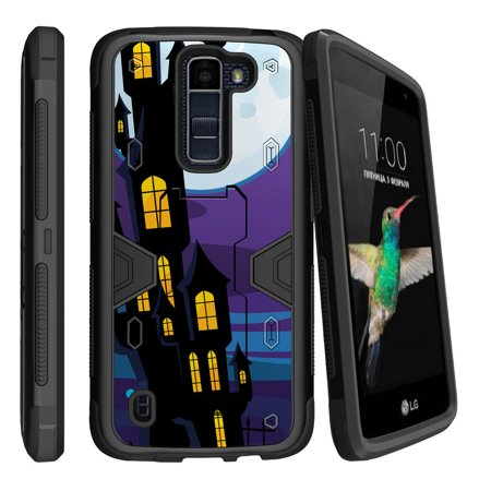 LG K7 | LG Tribute 5 Dual Layer Shock Resistant MAX DEFENSE Heavy Duty Case with Built In Kickstand - Haunted Mansion