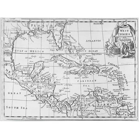 Trademark Art 'Map of the West Indies, Florida & South America' Canvas Art