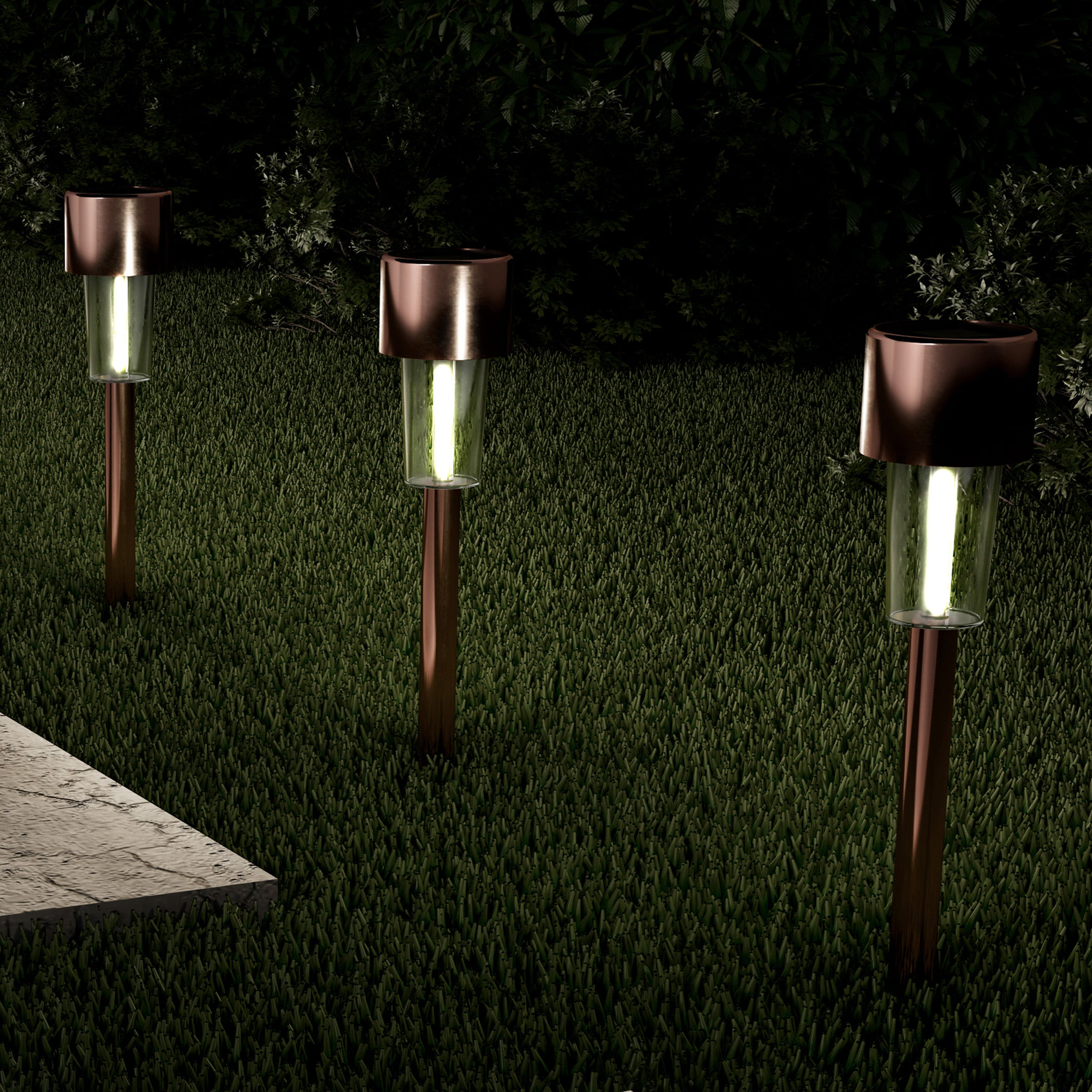 Bronze Outdoor Path Light Low Voltage LED Weather-Resistant Metal Stake Walkway