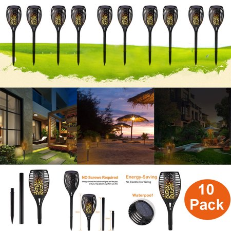 Pack Of 10 96 Led Solar Torch Path Garden Lights Outdoor Waterproof Dusk