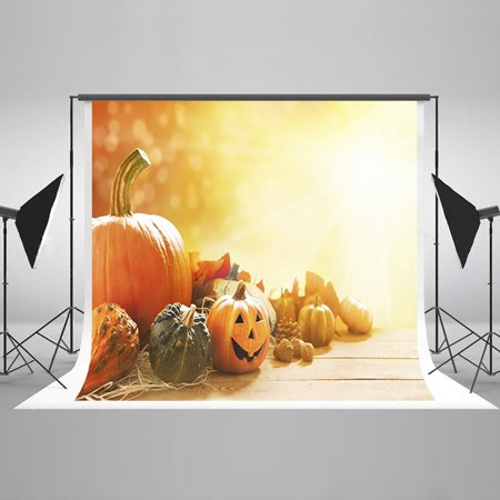 HelloDecor Polyster 7x5ft Halloween Photo Backgrounds Backdrops Pumpkin Wood Floor Backdrops for Photography Children Background](Halloween Pumpkin Background)