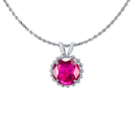 10K White Gold 6mm Round Cut Glass Filled Ruby with Bead Frame ...