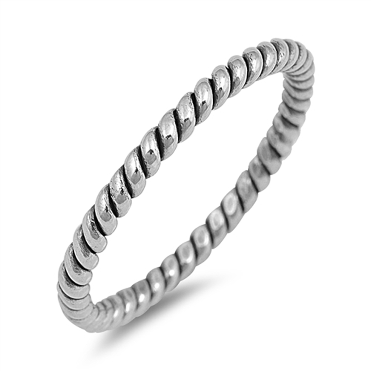 Sterling Silver Women's Wedding Oxidized Twist Thumb Ring (Sizes 2-12) (Ring Size 6)