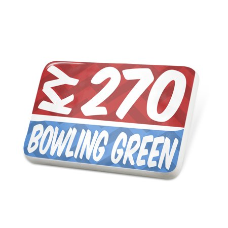 Porcelein Pin 270 Bowling Green, KY red/blue Lapel Badge – NEONBLOND ()