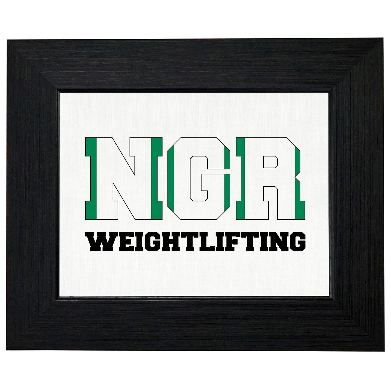 Nigeria Weightlifting - Olympic Games - Rio - Flag Framed Print Poster Wall or Desk Mount Options