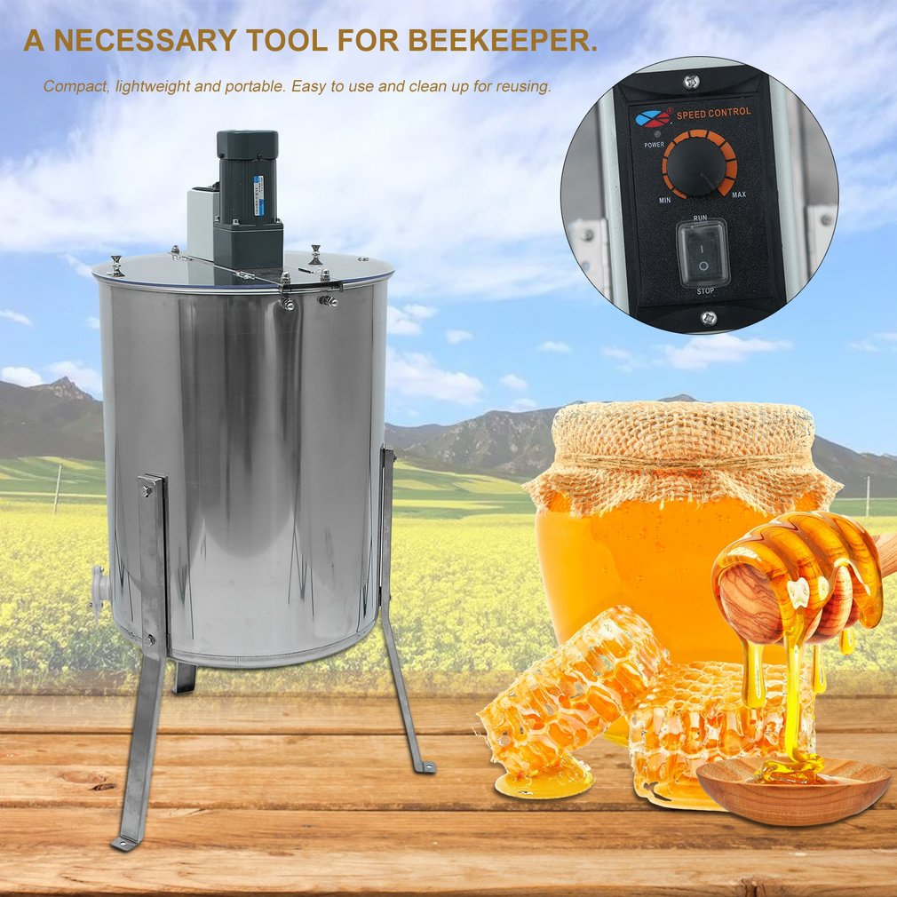 Electric 4 Four Frame Stainless Steel Honey Extractor Beekeeping Equipment Honeycomb Drum