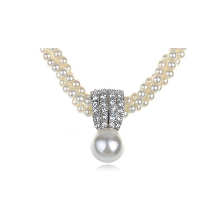 White Luster Faux Mother of Pearl Oceanic Regal Class Crystal Element Necklace