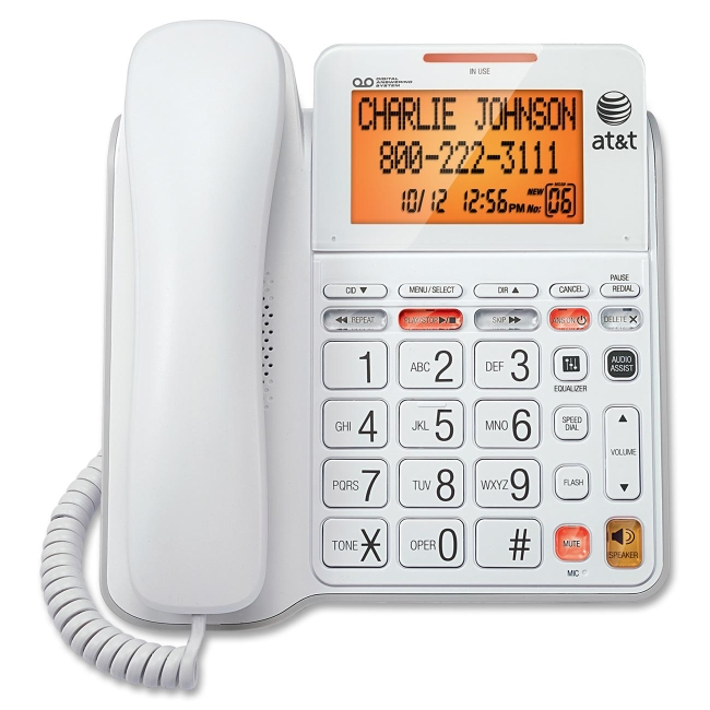 AT&T CL4940 Corded Phone with Answering System, Backlit Display, Extra-Large Tilt Display/Buttons, Caller ID/Call Waiting and Audio Assist, White