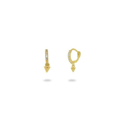 FRONAY 14k Gold Plated Mini Hinged Huggie Hoop Earrings for Girls, Women, Dangling Bullet