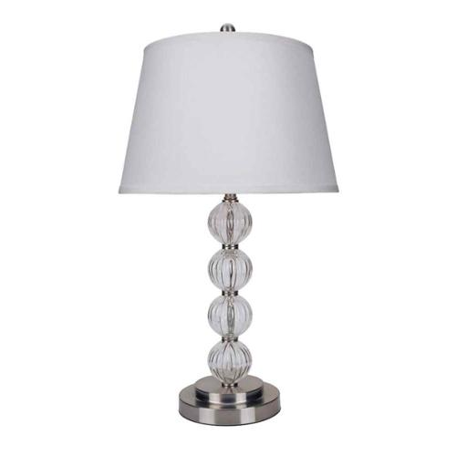 ORE International Glass Table Lamp, Satin Nickel