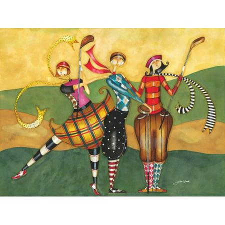 Whimsical Fun Folk Art - Golfing Girls Golf Whimsical Folk Art Print Wall Art By Jennifer Garant