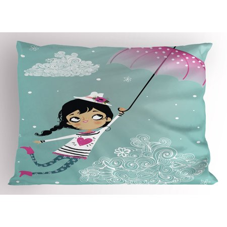 Girls Pillow Sham Flying Girl with a Pink Umbrella and a Floral Hat Doodle Style Curly Cloud Motifs, Decorative Standard Size Printed Pillowcase, 26 X 20 Inches, Multicolor, by Ambesonne