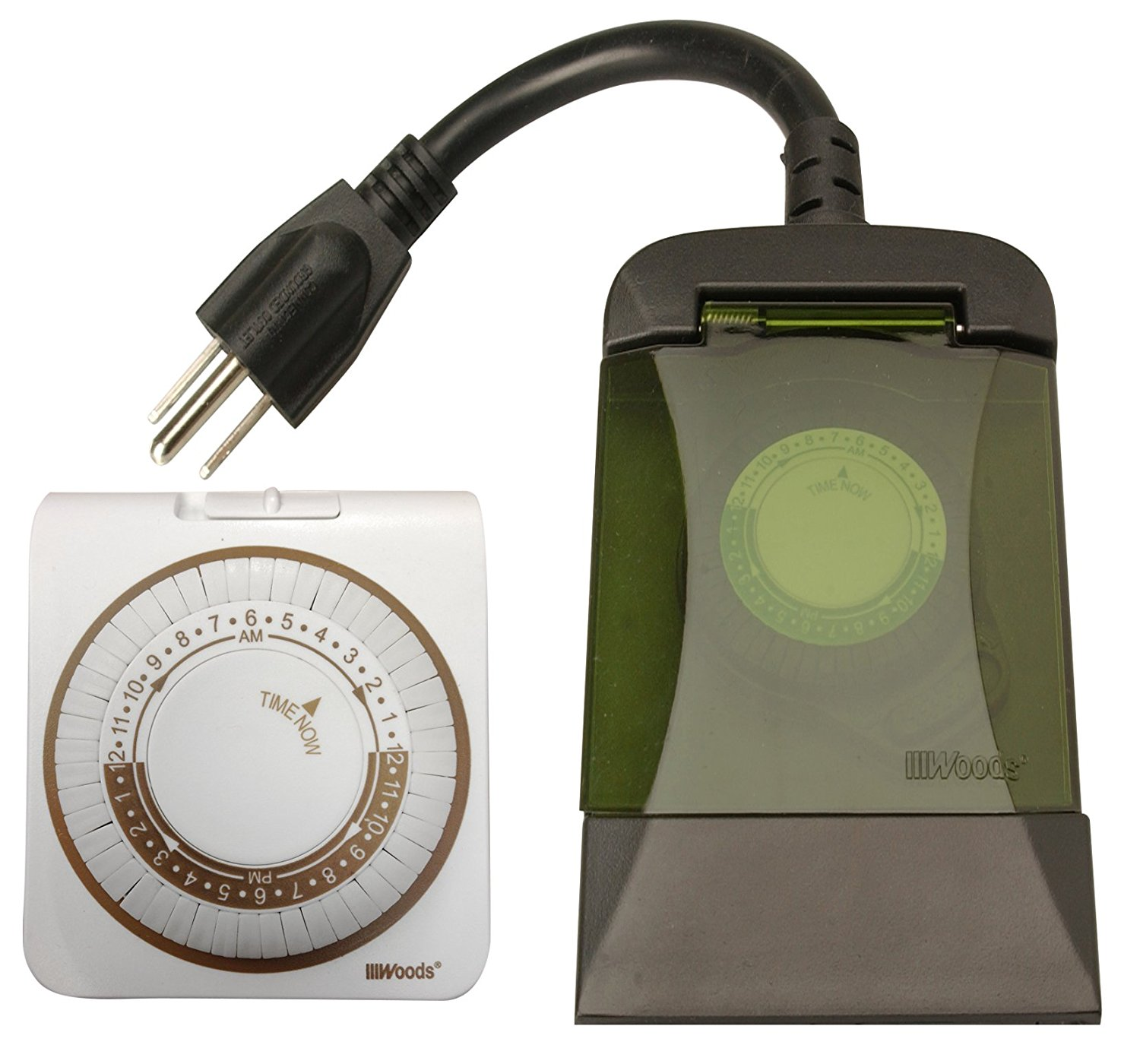 13571WD Indoor and Outdoor Plug-In Mechanical Timer Combo, 2 Pack, 1 Polarized and 2 Grounded Outlets,Great for indoor and outdoor lighting and.., By Woods