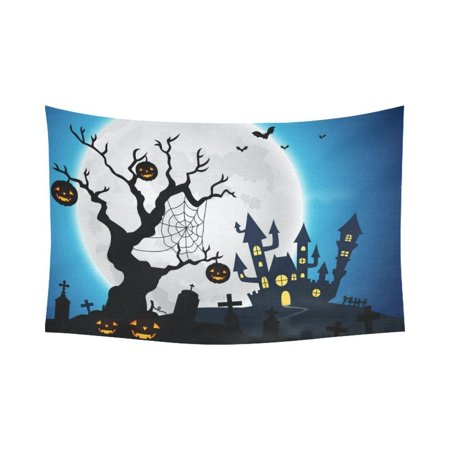 GCKG Halloween Pumpkin Jack O Lantern Spooky Tree Tapestry Horizontal Wall Hanging Haunted House Castle Full Moon Moonlight Wall Decor Art for Bedroom Cotton Decoration 90 x 60 Inches](100 Pics Halloween 90)