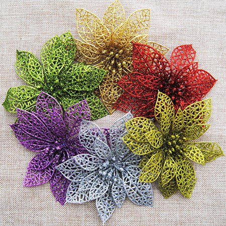 Christmas Tree Wreath (Heepo 10Pcs Xmas Tree Wreath Decor Wedding Party Christmas Hollow Glitter)