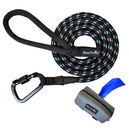 Heavy Duty Dog Rope Leash for Medium and Large Dogs + FREE Poop Bag Leash Dispenser Bags On Board Plastic Leash