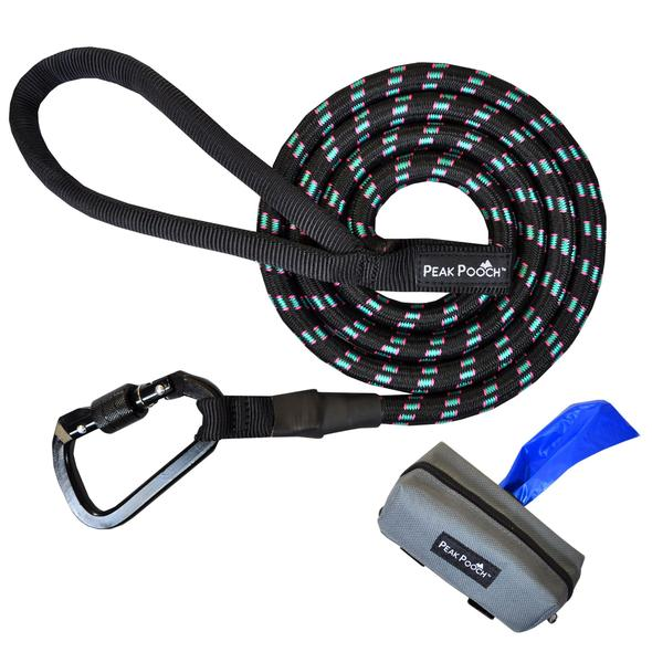 Heavy Duty Dog Rope Leash for Medium and Large Dogs + FREE Poop Bag Leash Dispenser