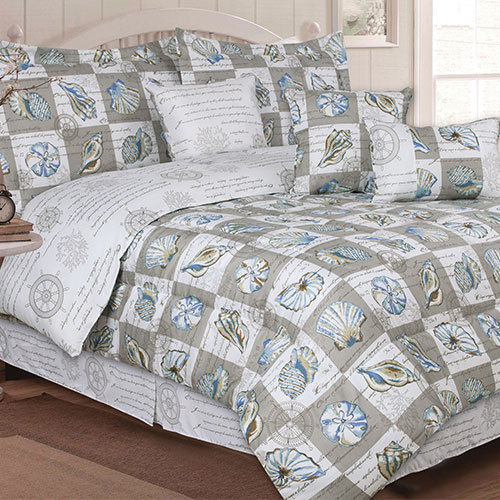 Twin Size Blue, Tan & White, Seashells, Beach House Nautical Comforter Set (5 Piece Bed In A Bag)