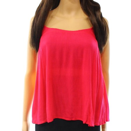 (Elodie NEW Pink Solid Womens Size Medium M Ruffle Trim Crinkle Cami Top)